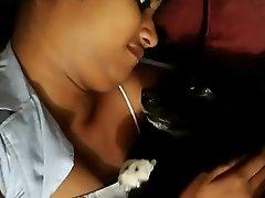 Horny beauty loves pet