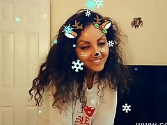 Christmas Snapchat teen gives best deepthroat blowjob with massive cumshot pay off tiktok hot shots POV Indian