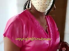 Indian sexy crossdresser Lara D'Souza in satin nighty 2