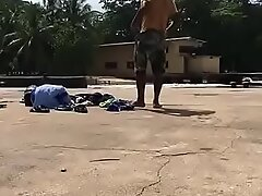 Indian gay Rinku stripping defoliated and changing pants with reference to pool