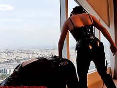 DOMINAFIRE: Spandex Strapon Kingpin pegging sissy slut