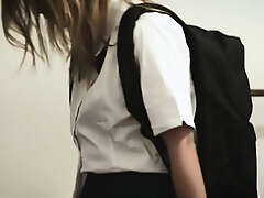 Sexy schoolgirl fucked away from stepbro