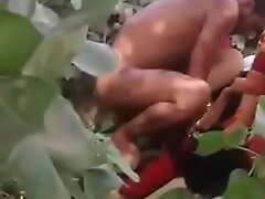 Desi two bhabhi threesome leman in village