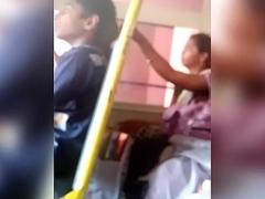 Telugu aunty navel show in bus