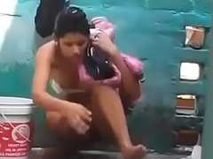 Desi girl bathing relating to open inseparable cam