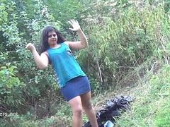 Indian amateur bbw Kikis public flashing and outdoor voyeur masturbation with a