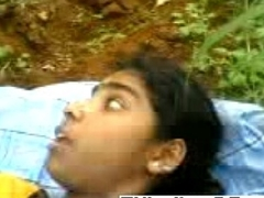 Piping hot Indian couple fucking relating to the woods