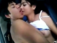 desi kudi enjoying close by car with bf