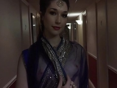 Indian Clear the way endanger to walk naked in hotel all round see through saree and guest see her