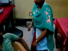 technician finguring lady nurse in hospital