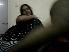 Tamil bhabhi all round pitch-black indian saree giving her h...
