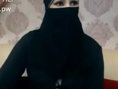 Indian Muslim unspecific in hijab stay chatting on webcam
