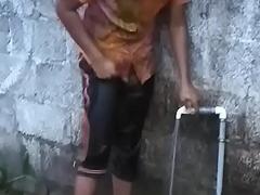 Hot Kerala mallu lawful age teenager baby with chubby cash bathing sneak peeking