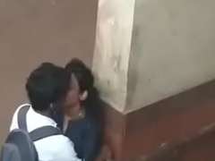 Indian outdoor College girl with her bf