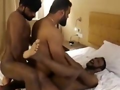 brown skin Indian boy 3some fun inside hotel room